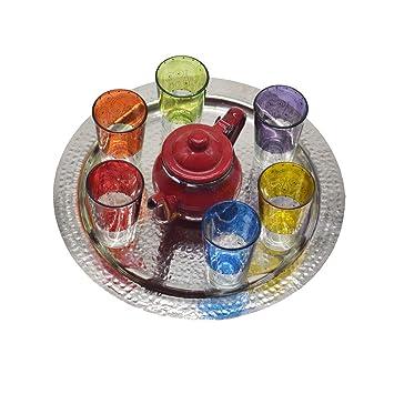 Juego de té modelo moruno de Marruecos, 6 vasos de colores más tetera esmaltada pequeña y una bandeja de alpaca de 30 cm diámetro aproximadamente: ...