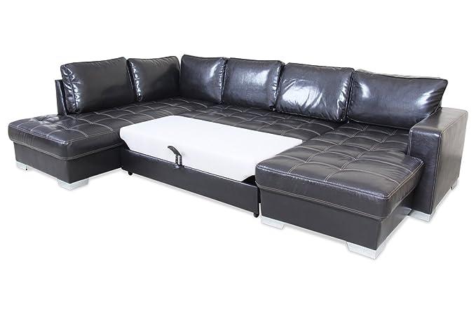 Sofa Wohnlandschaft Arles Mit Schlaffunktion Braun Mit Federkern