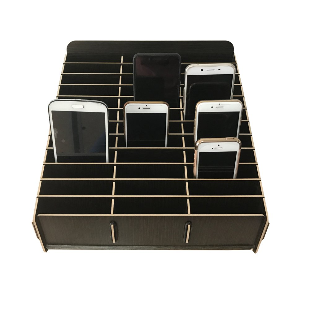 Loghot Wooden 36 Storage Compartments Multifunctional Storage Box for Cell Phones Holder Desk Supplies Organizer (Black) by Loghot (Image #2)