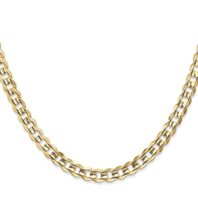 6b14ecf39283f Amazon.com: 14K Yellow Gold 5.25MM Open Concave Curb Link Chain ...