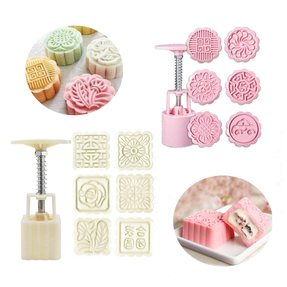 Bozoa Mooncake Mold/Moon Cake Mold Cookie Stamps Set Party Pastry molds Cake Circle Hand Press 50g DIY Cookies Tool with 12 Stamps (2 Sets)