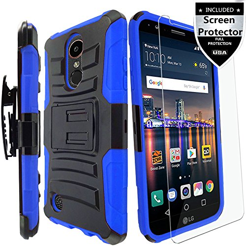 LG Tribute Dynasty Case / LG Fortune Case / LG Phoenix 3 Case / LG K8 2017 Case With Screen Protector,IDEA LINE(TM) Heavy Duty Combo Holster Kickstand Belt Clip Cover - Blue