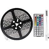 LEDMO 12V Waterproof Flexible SMD 5050 RGB LED Strip Lights, LED Tape, Multi-colorsLight Strips, Color Changing, Pack of 16.4ft/5m String with 44 Keys IR Remote Controller