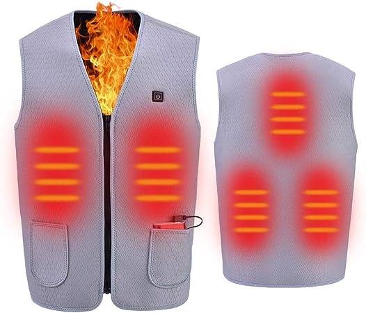 3 regolazioni di Temperatura FOONEE Lavabile e a Riscaldamento rapido Gilet Elettrico riscaldato con Ricarica USB Medium Grigio Campeggio per casa Escursionismo Leggero 5 Zone di Calore