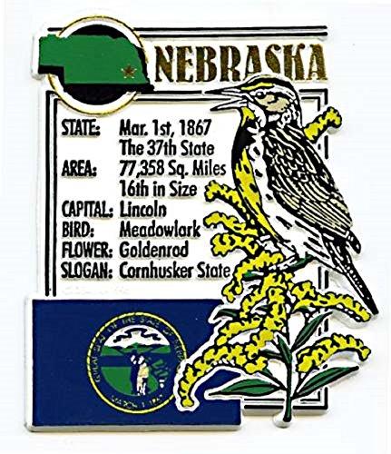 Bird State Flower Nebraska (Nebraska the Cornhusker State Montage Fridge Magnet)