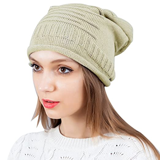 THENICE Women s Cotton Hip Hop ring Warm Beanie Hats Men Skull Cap (Beige) 63d34d787
