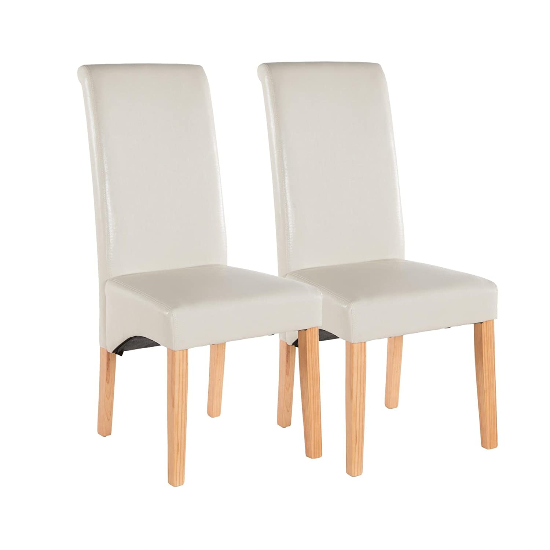 Polsterstuhl 2er Set Esszimmer Stuhl Hochlehner Kunstleder Holz Creme Beige:  Amazon.de: Küche U0026 Haushalt