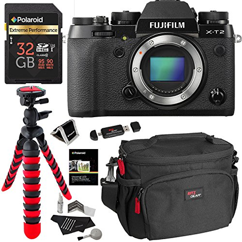 Fujifilm X-T2 Mirrorless Digital Camera Body Only, Polaroid Extreme Performance 32GB, RitzGear Bag, Tripod, Polaroid Cleaning Kit and Accessory Bundle