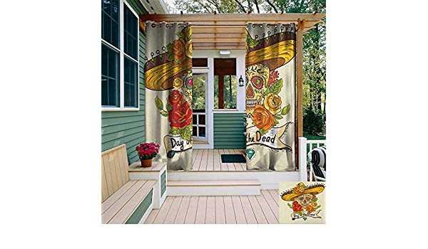 leinuoyi Sugar Skull, Arandela de Cortina para Exteriores, diseño de Calaveras de Día de los Muertos, Coloridas con Flores, Estilo Mexicano artístico, Cortina de Exterior para Patio: Amazon.es: Jardín