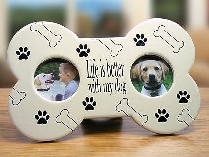 Buy Dog Photo Frame - Dog Bone Shaped Ceramic Picture Frame - Paw ...