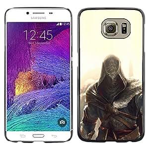 KLONGSHOP // Cubierta de piel con cierre a presión Shell trasero duro de goma Protección Caso - Assassin Glow - Samsung Galaxy S6 //