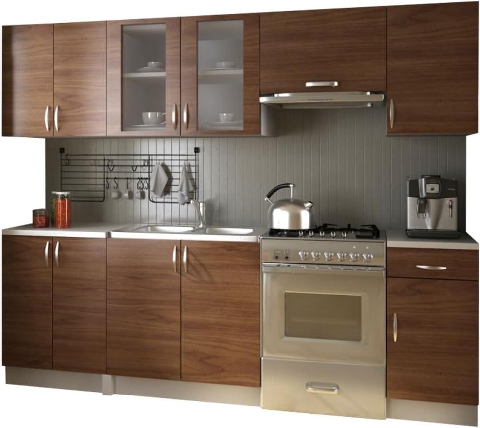 Vidaxl Kitchen Cabinet Unit 2 4m Light Brown Worktop Handles Gtv