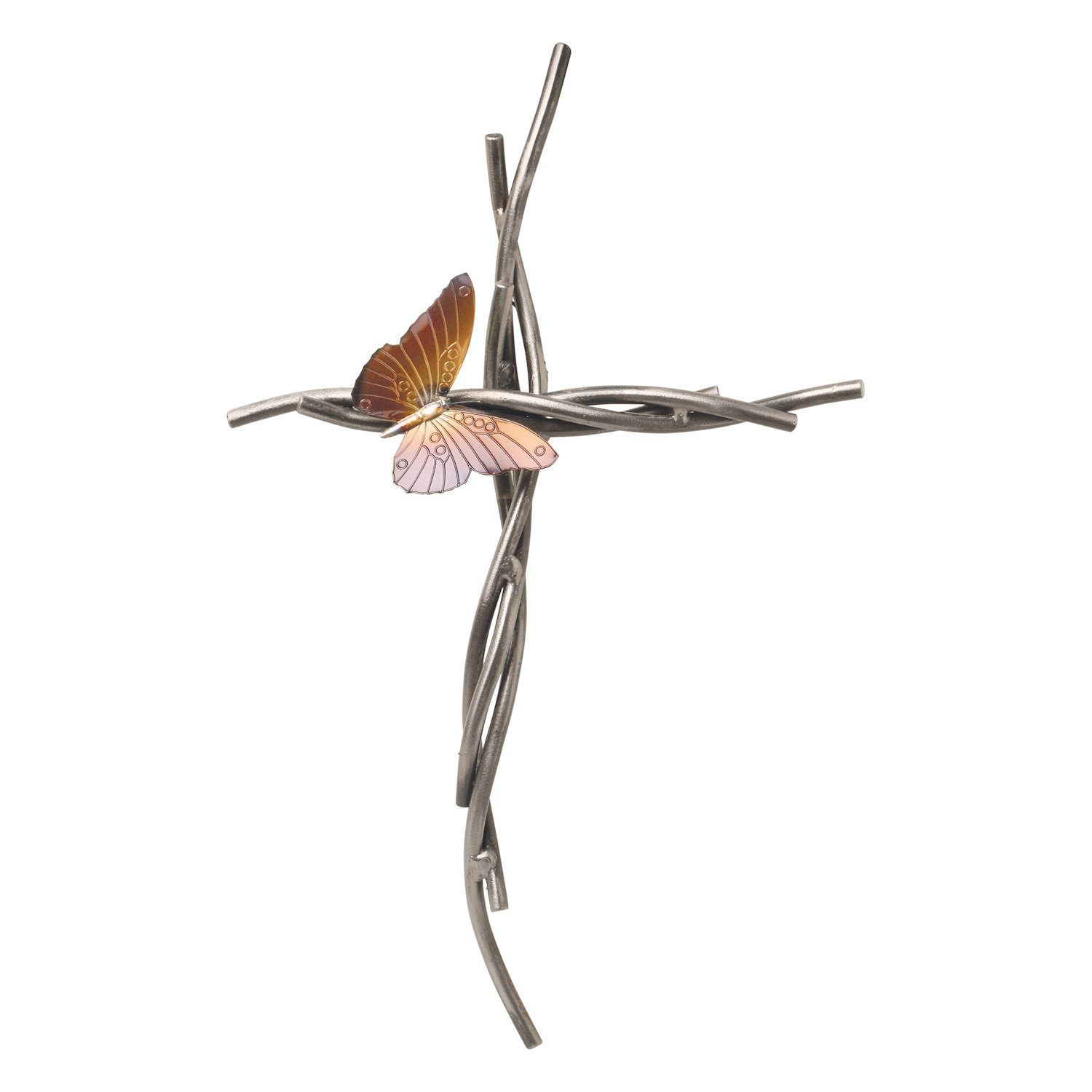 Iron Chinchilla Patrick Neuwirth Butterfly and Vine Wall Cross - Handmade Christian Home Decor