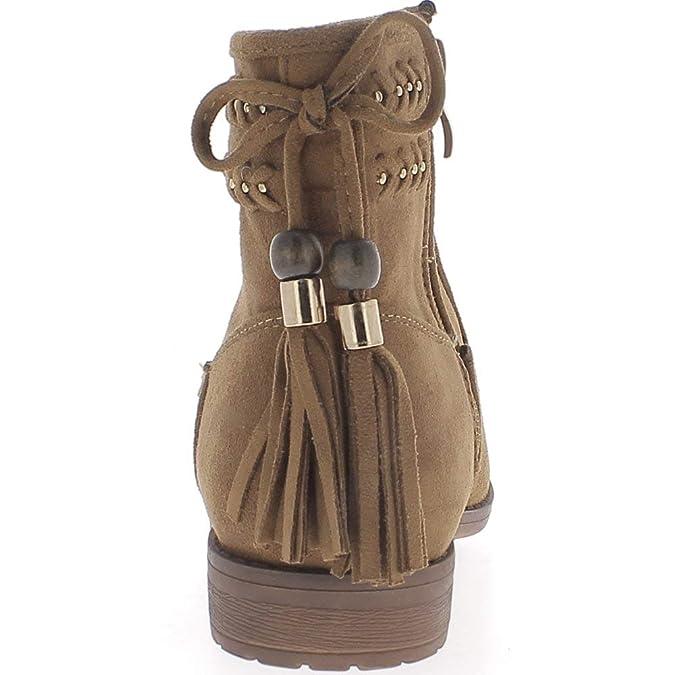 474fe8b62b2d6 Bottines Femme Camel doublées à Talon Western de 2 cm avec Lacet et  Pompons  Amazon.fr  Chaussures et Sacs