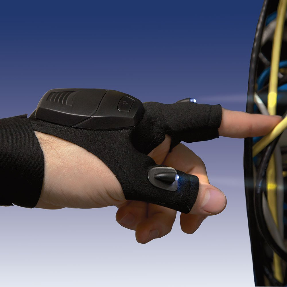 Bits and Pieces - LED Flashlight Glove - Handyman Gift - Fingerless Hands Free Glove - Easily Work In Dark Places
