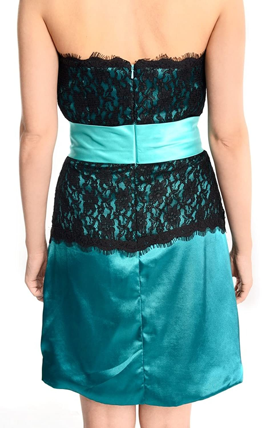Amadeo Strapless A Line Lace Blue Black Short Evening Dresses LF038