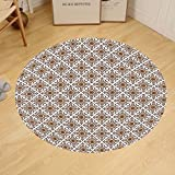 Gzhihine Custom round floor mat Ethnic Thai Mosaic Art Culture Stylized Abstract Lines Dots Pattern Folk Asian Design Bedroom Living Room Dorm Redwood White