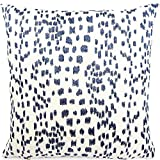 Chloe & Olive Spotted Embroidered Animal Leopard Print Throw Toss Pillow Cover, 18'' or 20'' Square Accent Pillow Cover, Blue and White Cushion Sham, Brunschwig & Fils, Les Touches Embroidered Indigo
