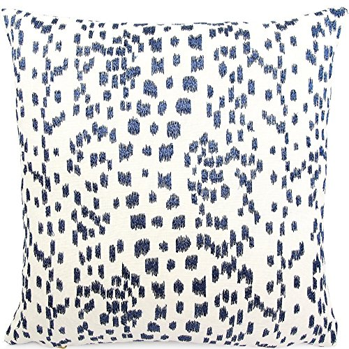 """Chloe & Olive Spotted Embroidered Animal Leopard Print Throw Toss Pillow Cover, 18"""" or 20"""" Square Accent Pillow Cover, Blue and White Cushion Sham, Brunschwig & Fils, Les Touches Embroidered Indigo"""