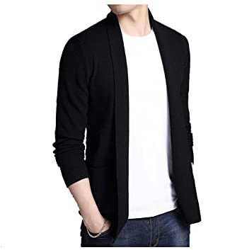3291a0325f5f Uni-fashion Mens Grace Open-Front Solid Casual Long Sweater Cardigan at Amazon  Men's Clothing store: