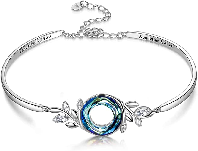 Made with Swarovski Crystal Purple Blue White Gold Bracelet Bangle Women Gift