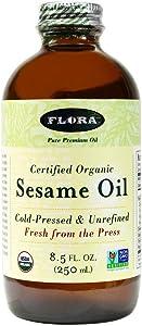 Organic Sesame Oil 8.5 Oz- 100% Pure Cold Pressed Artisan Oil - Non GMO & Kosher - by Flora