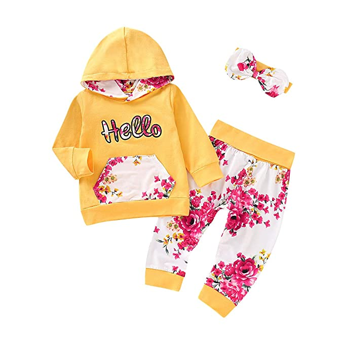 Toddler Kids Baby Girl Flowers Hooded Tops Headband Pants OUtfits Set Clothes