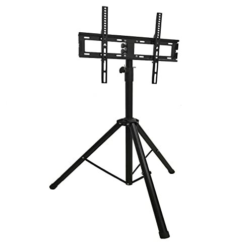 Tripod Portable Floor TV Stand Foldable Stand Mount for 26-55 Flat Curved Screens -Height Adjustable Pole Display Stand up to 88lbs VESA 400X400 FM6602 by HY Bracket