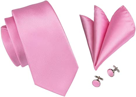FDHFC Moda para Hombre Corbata Rosa Sólido Corbata Gemelos ...