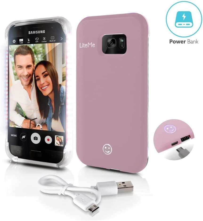 Rose Gold SereneLife SL301S7RG Heavy Duty Cellphone Protection Cover for Men//Women Lite-Me Selfie Lighted Smart Mobile Case with Built-in Power Bank LED Lights Samsung Galaxy S7 Phone Case