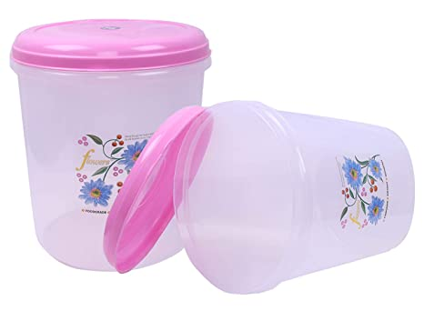 Kuber Industries Plastic 2 Pieces Multipurpose Storage Container Box 5000 ML  Pink   CTLTC12612