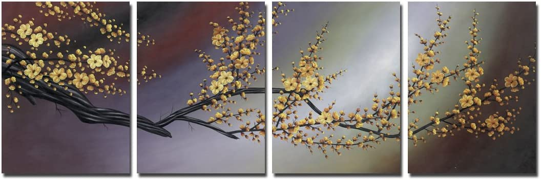 Wieco Art Plum Blossom Floral Paintings on Canvas Prints Wall Art for Living Room Bedroom Home Decorations Modern 4 Piece Stretched and Framed Contemporary Giclee Grace Gold Flowers Pictures Artwork
