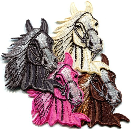 (Lot of 4 Horse Colt Bronco Filly Mustang Pony Stallion Appliques Iron-on Patches Fast Shipping Ship Worldwide From Hengheng Shop )