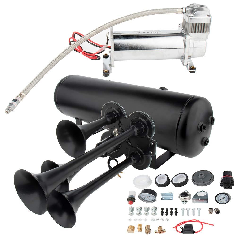 cciyu 12V Loud Air Horn 4 Trumpet Air Horn Kit with 200PSI Air Compressor 3 Gal Air Tank Replacement for Train Car Truck Boat RV