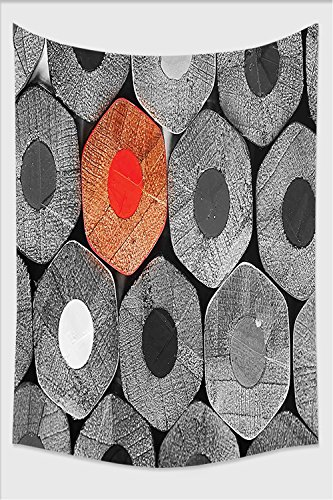 Nalahome-Red and Black Kindergarten Kids Decor Coloring Crayons Photo from Back Charcoal Grey and Light Grey Tapestry Wall Hanging Wall Tapestries 59L x 51.1W (Kindergarten Halloween Coloring Sheets)
