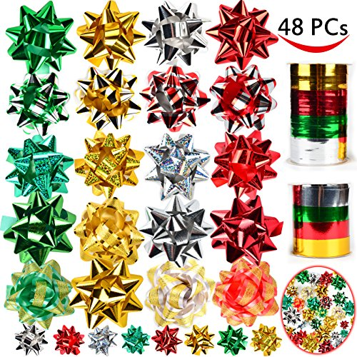 46 Christmas Gift Self Adhesive Bows & 8 Rolls of Christmas Curling Ribbons for Christmas Holiday Gifts, Bows, Baskets, Wine Bottles Decoration, Gift Wrapping and Decoration Present by Joiedomi.