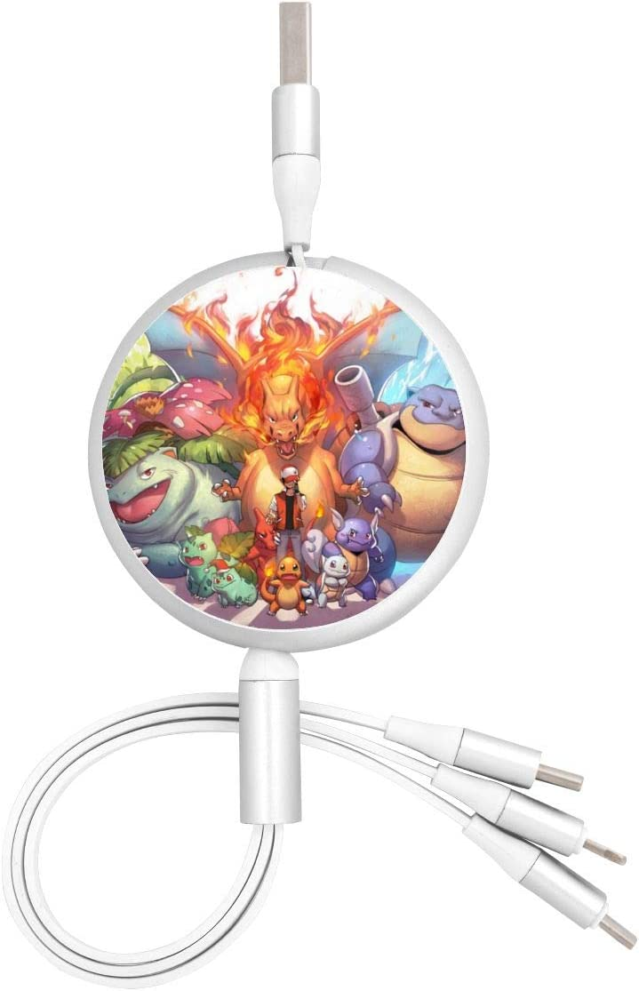Blastoise Bulbasaur Charizard Charmander Charmeleon Ivysaur USB Round Three-in-One Material Data ABS Cables Multi USB Charger CableRetractable Multiple Fasts Chargings Data line Protective Case