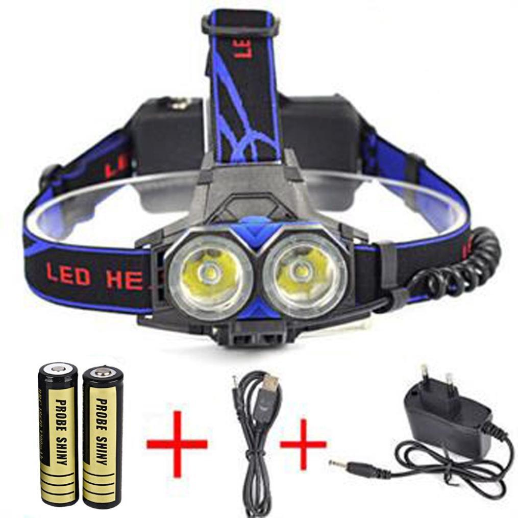 Headlight,LandFox 11000LM LED Headlamp Headlight Light Head Torch + USB Charger Battery