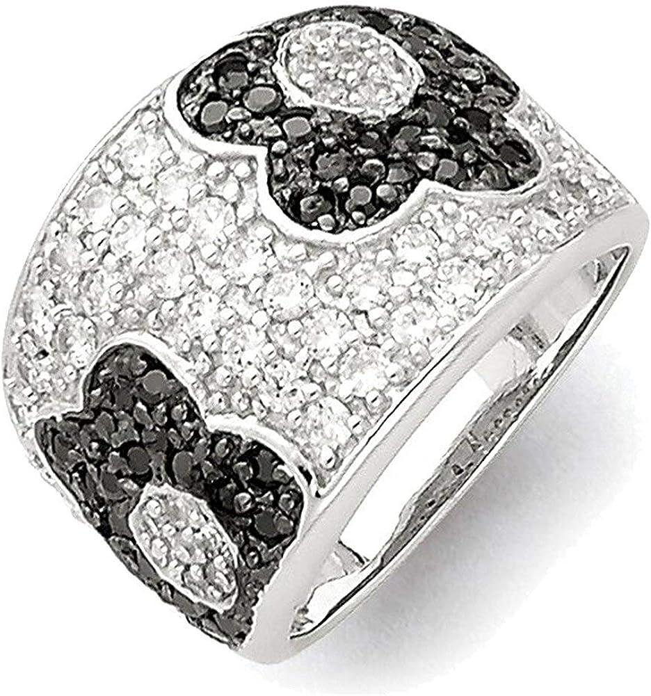 Lex /& Lu Sterling Silver w//Rhodium Black /& Clear CZ Floral Ring