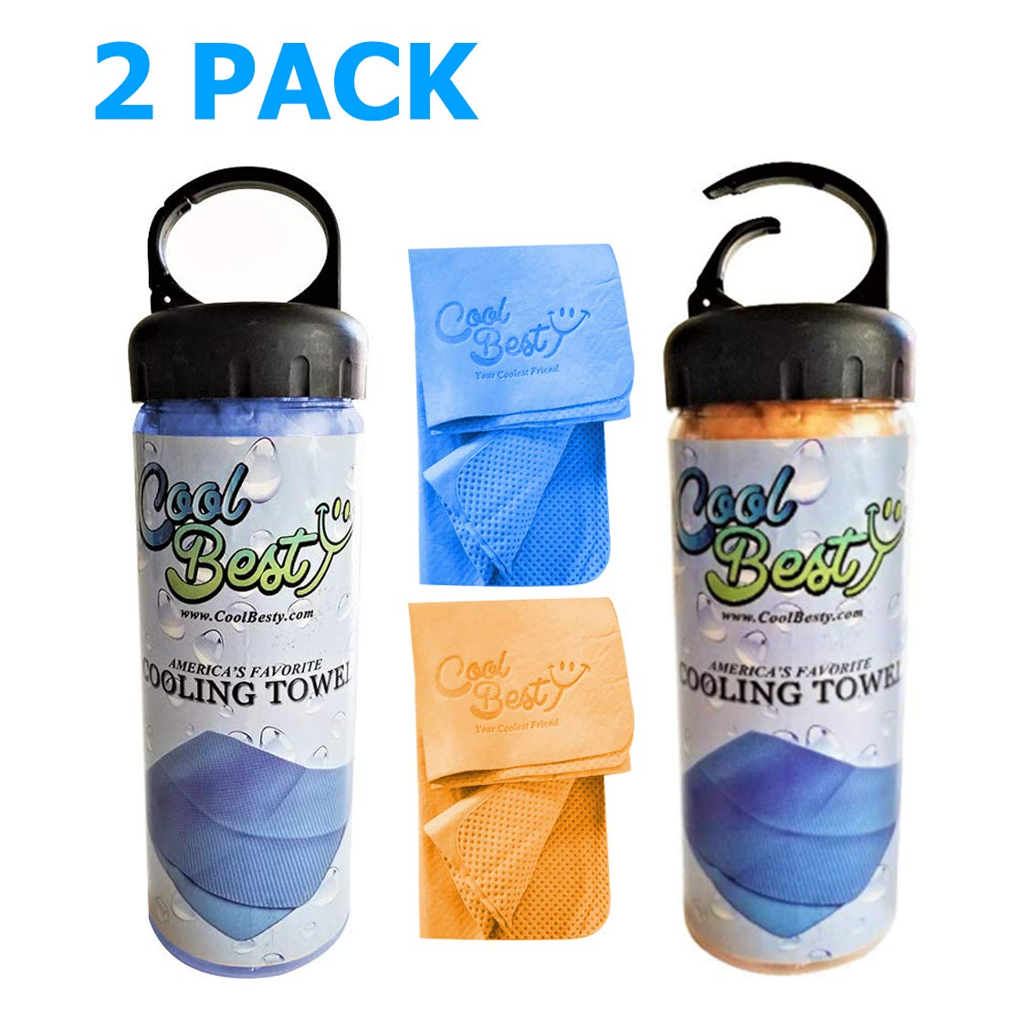 Cool Besty 2 Pack-Blue/Orange - Cooling Towel-Workout/Tennis/Golf/Biking-Best for Any Sport Activities&Athletes Cold Towel-Chilly Pad Instant Cooling Snap Towel-Perfect for Fitness&Gym