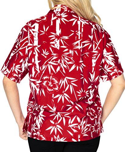 ropa de playa bot�n de arriba hacia abajo blusa encubren camisa de mangas cortas se�oras del collar hawaiano Rojo