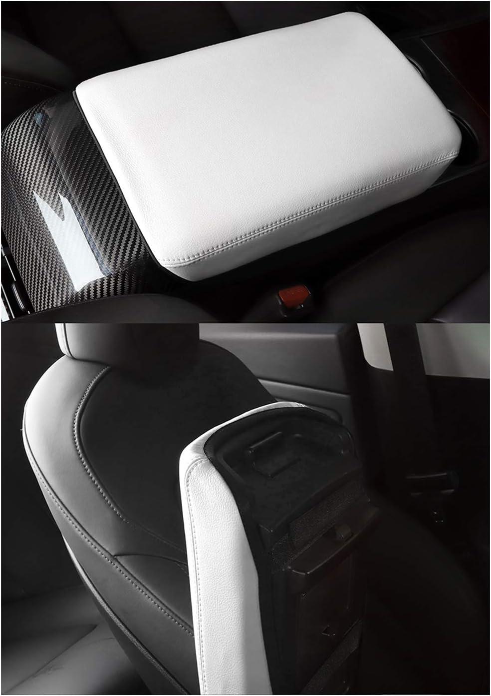 CDEFG per Model 3 Coperchio di protezione della scatola del bracciolo per parti auto Guscio decorativo del bracciolo della impermeabile e indossabile Bianco