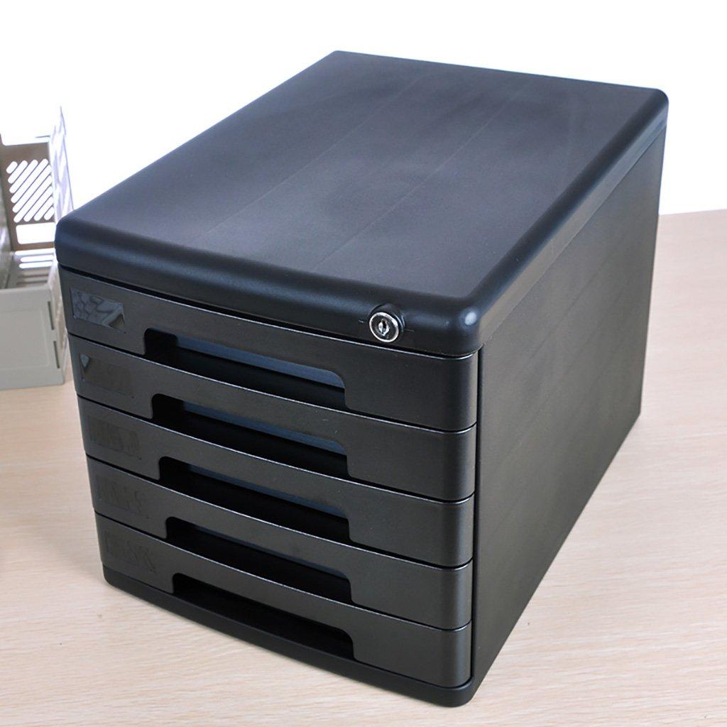 Cassettiera portaoggetti in plastica Cassetto portaoggetti Libreria organizzatore con chiusura a chiave Scatola per ufficio A4 / Colore: grigio / nero (Dimensioni: 361 * 271 * 260mm) ( Colore : A )