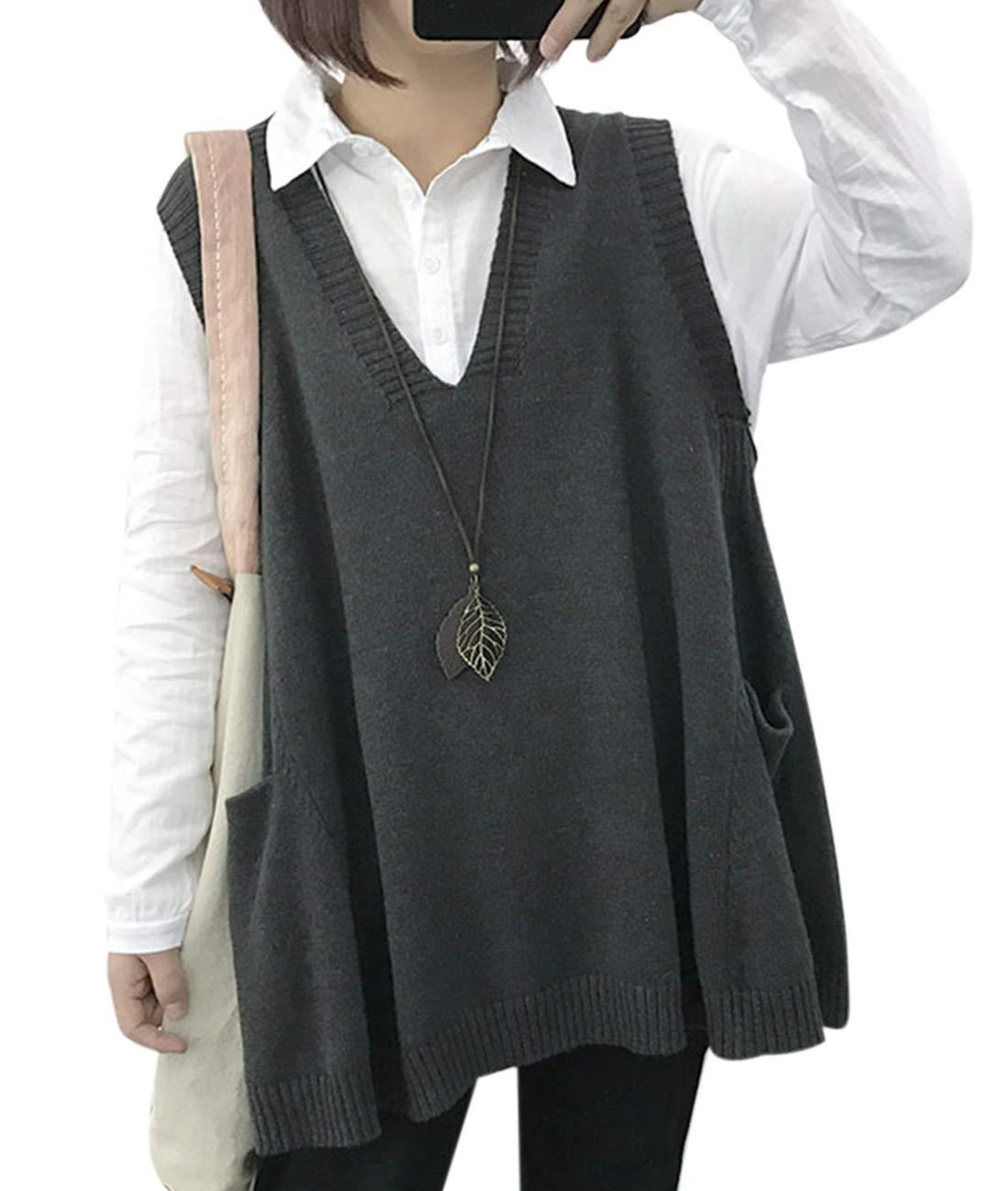 YESNO WM9 Women Casual Cute Sweater Vest Loose Swing Hemline/Pockets (M, WM9 Gray) by YESNO