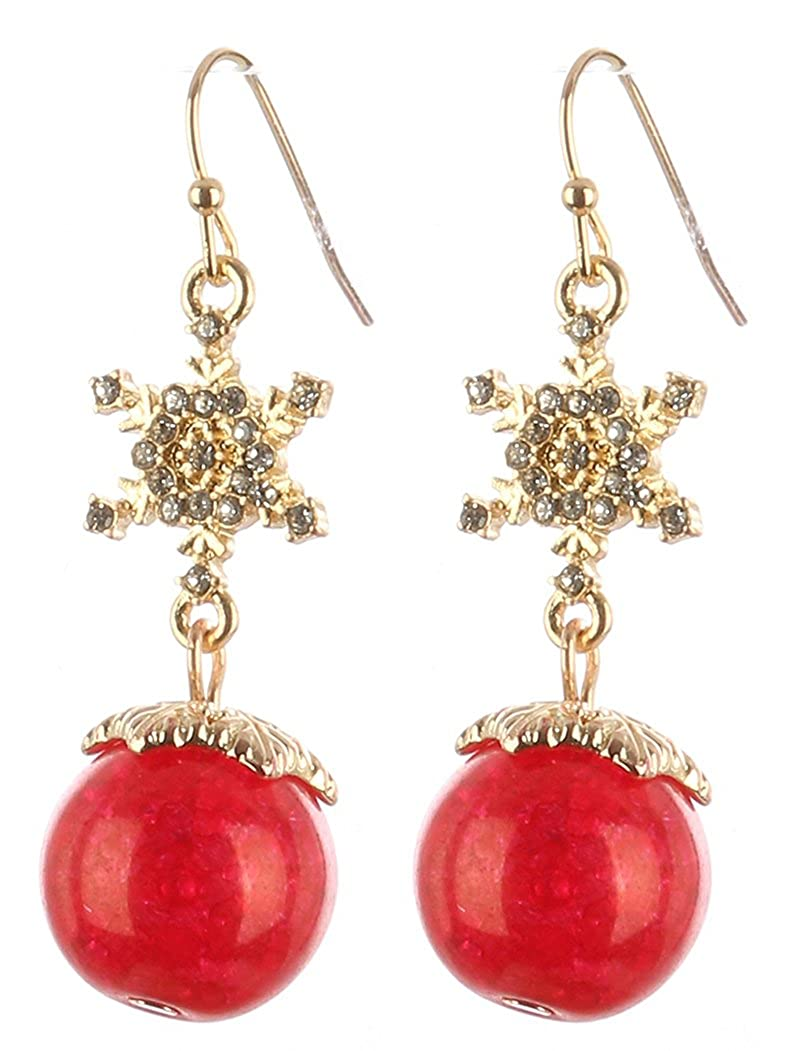 Destinees red METAL SNOW FLAKE CLOUDY STONE CHARM EARRING