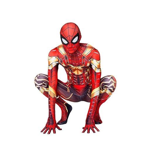 WEDSGTV Niños Adultos Iron Spider Man Cosplay Zentai Spiderman ...
