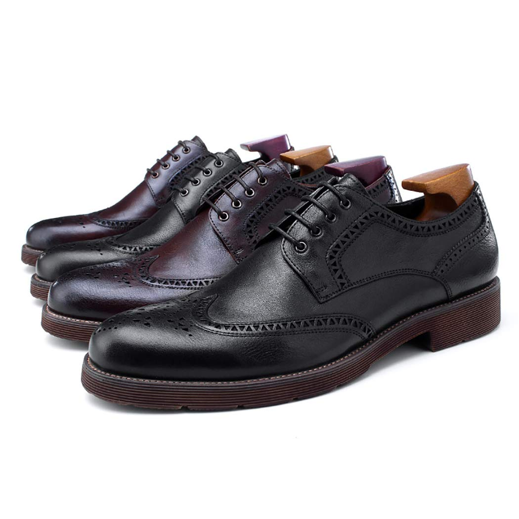Mens Low-Top Brogues Oxford Shoes Soft Leather Fashion Classic Lace Up Footwear Hand Carved Young Casual Shoes