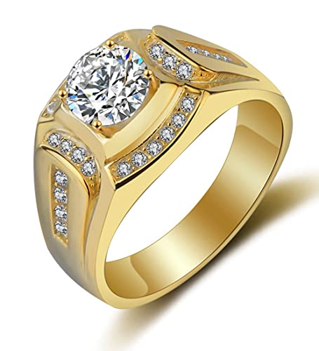5ee62985d730 Borong Anillo Oro Hombre joyería de Moda de Boda y Compromiso Anillos de  Sello de Bandas con Chapado en Oro Regalo de Promesa y eternidad para el  Marido  ...