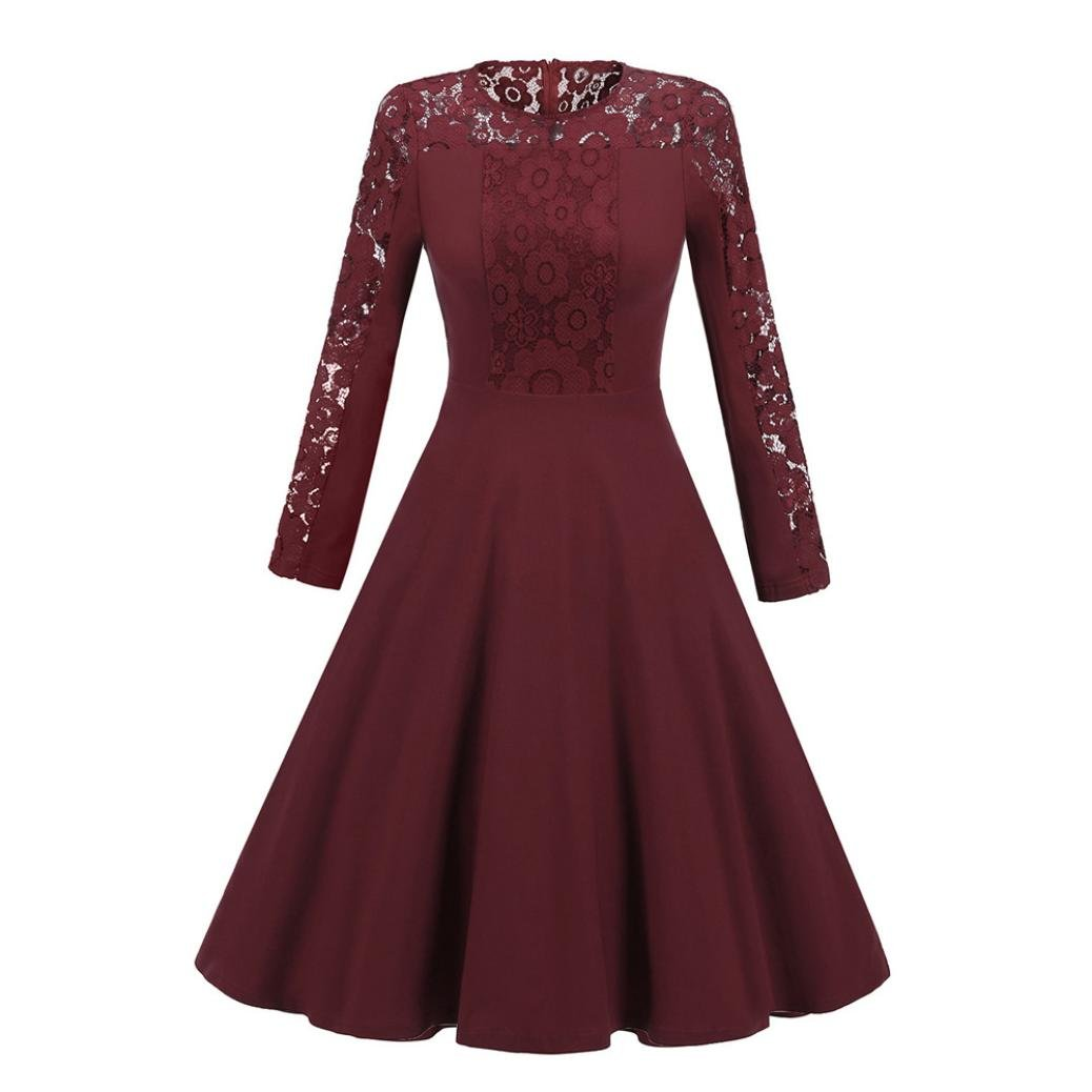 Women's Sexy Vintage Lace Long Sleeve Formal Patchwork Wedding Cocktail Party Retro Swing Dress Slim Ladies Dress (Wine red, XL)