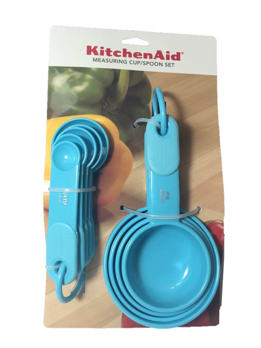 Amazon.com: KitchenAid Turquoise Blue Measuring Cups and Spoons ...